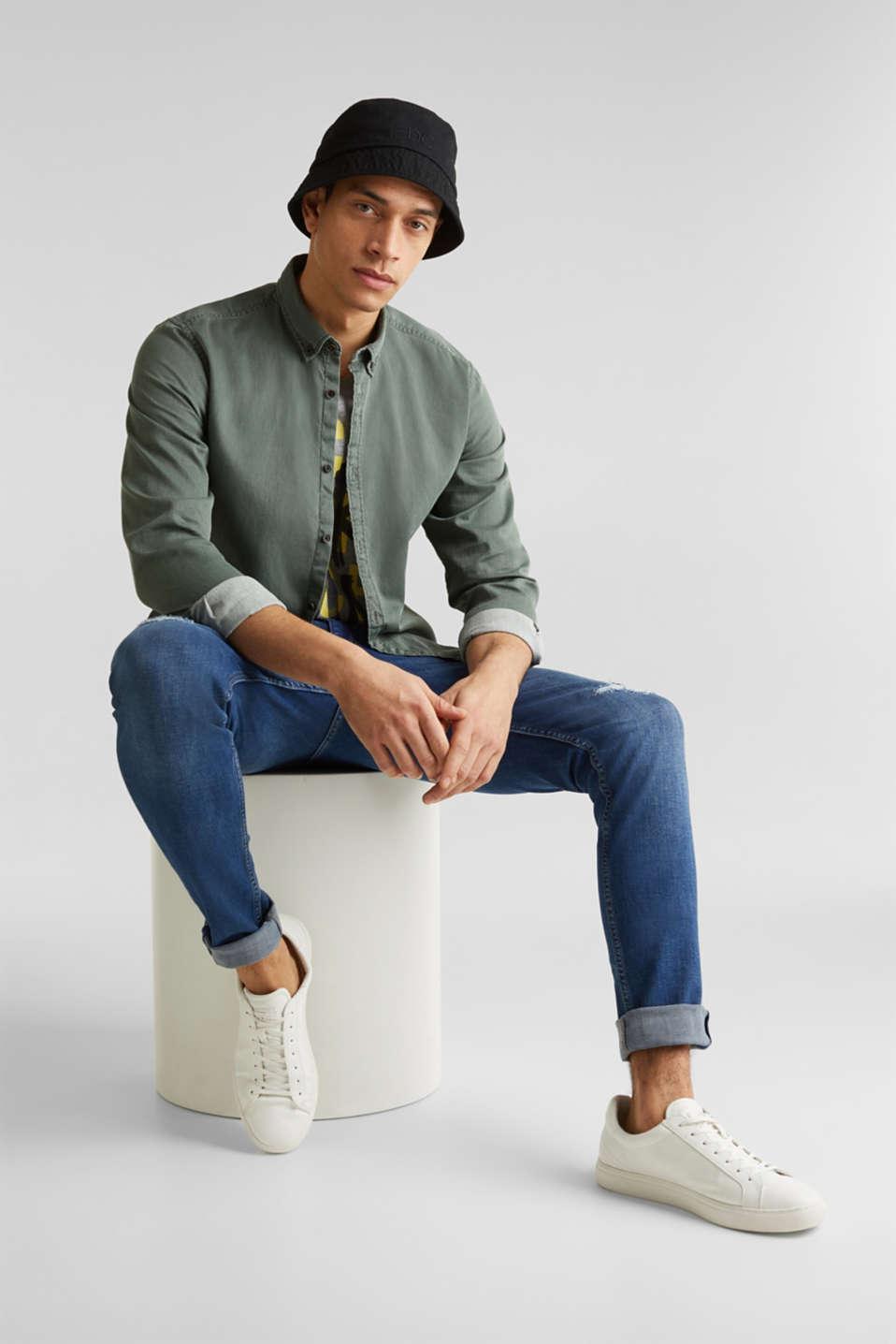 Shirts woven Slim fit, KHAKI GREEN 5, detail image number 1