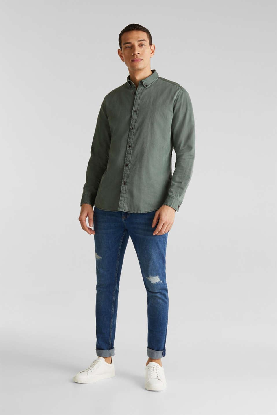 Shirts woven Slim fit, KHAKI GREEN 5, detail image number 7