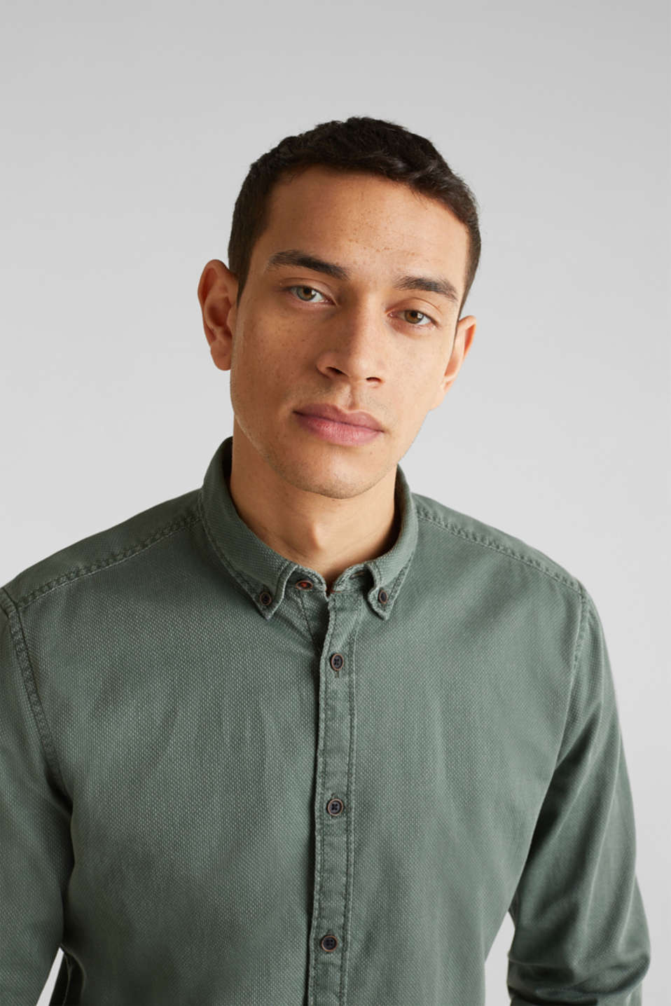 Shirts woven Slim fit, KHAKI GREEN 5, detail image number 2