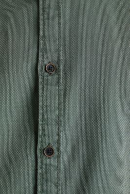 Shirt with a checked texture, 100% cotton, KHAKI GREEN 5, detail