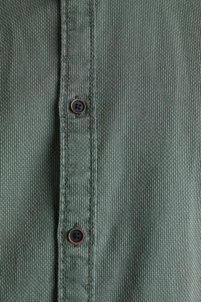 Overhemd met ruitenstructuur, 100% katoen, KHAKI GREEN, detail image number 4
