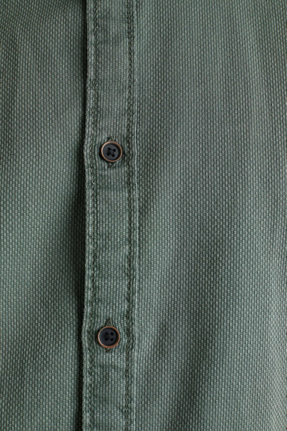 Shirt with a checked texture, 100% cotton, KHAKI GREEN 5, detail image number 4