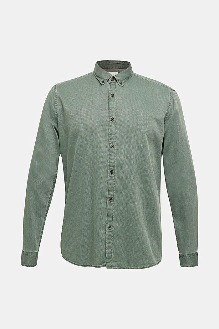 Overhemd met ruitenstructuur, 100% katoen, KHAKI GREEN, detail image number 8