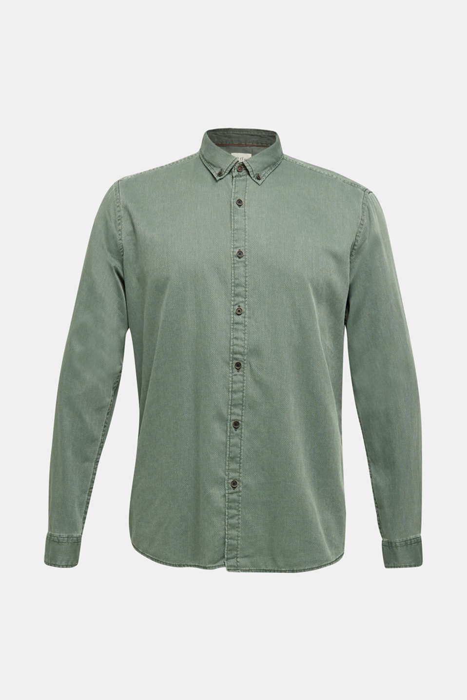 Shirt with a checked texture, 100% cotton, KHAKI GREEN 5, detail image number 8