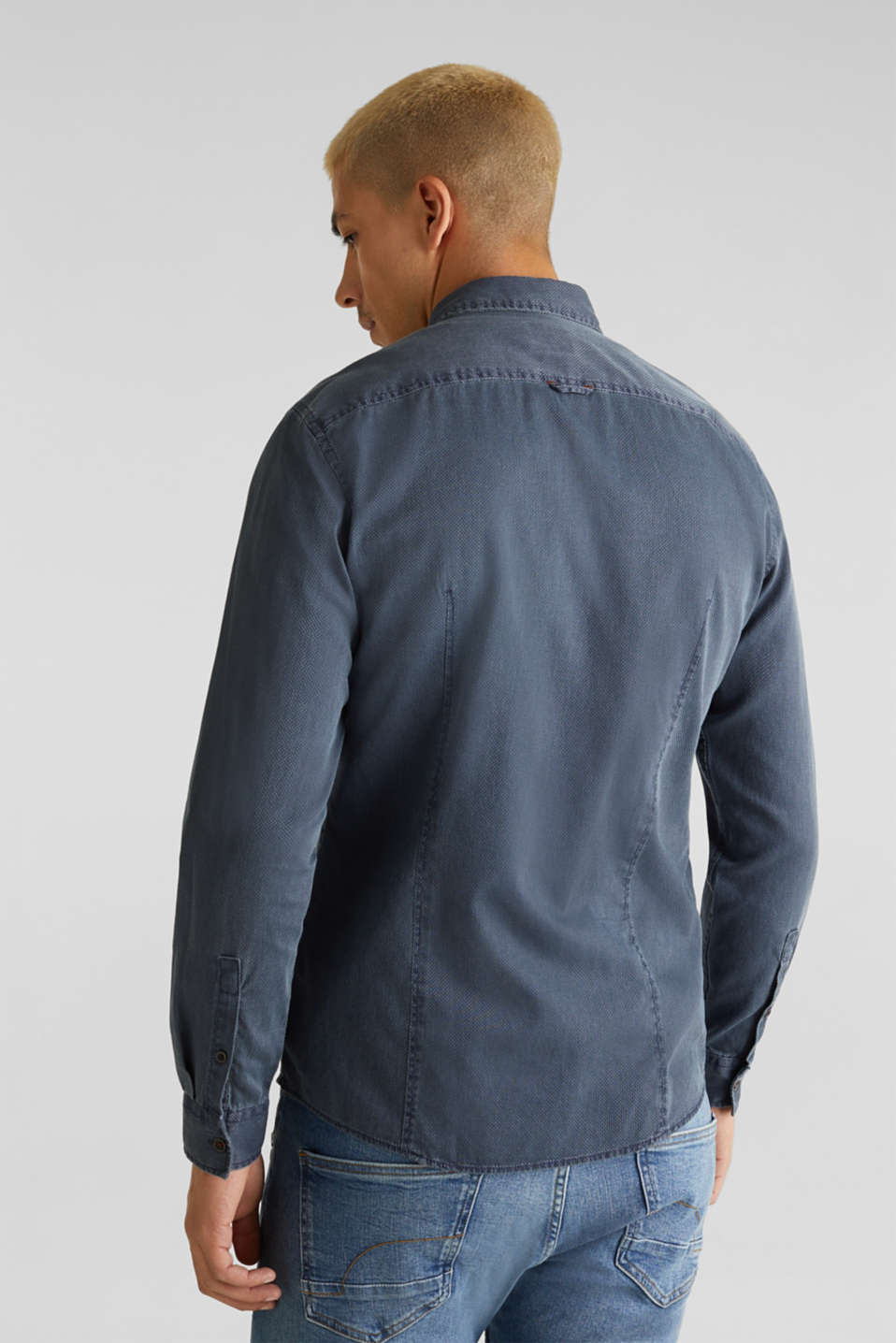 Shirt with a checked texture, 100% cotton, DARK BLUE 5, detail image number 3