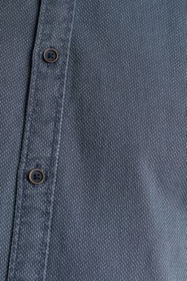 Shirt with a checked texture, 100% cotton, DARK BLUE 5, detail