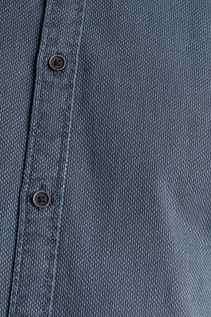 Shirt with a checked texture, 100% cotton, DARK BLUE, detail image number 4