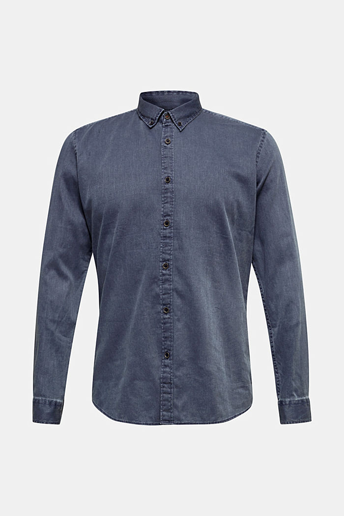 Shirt with a checked texture, 100% cotton, DARK BLUE, detail image number 7