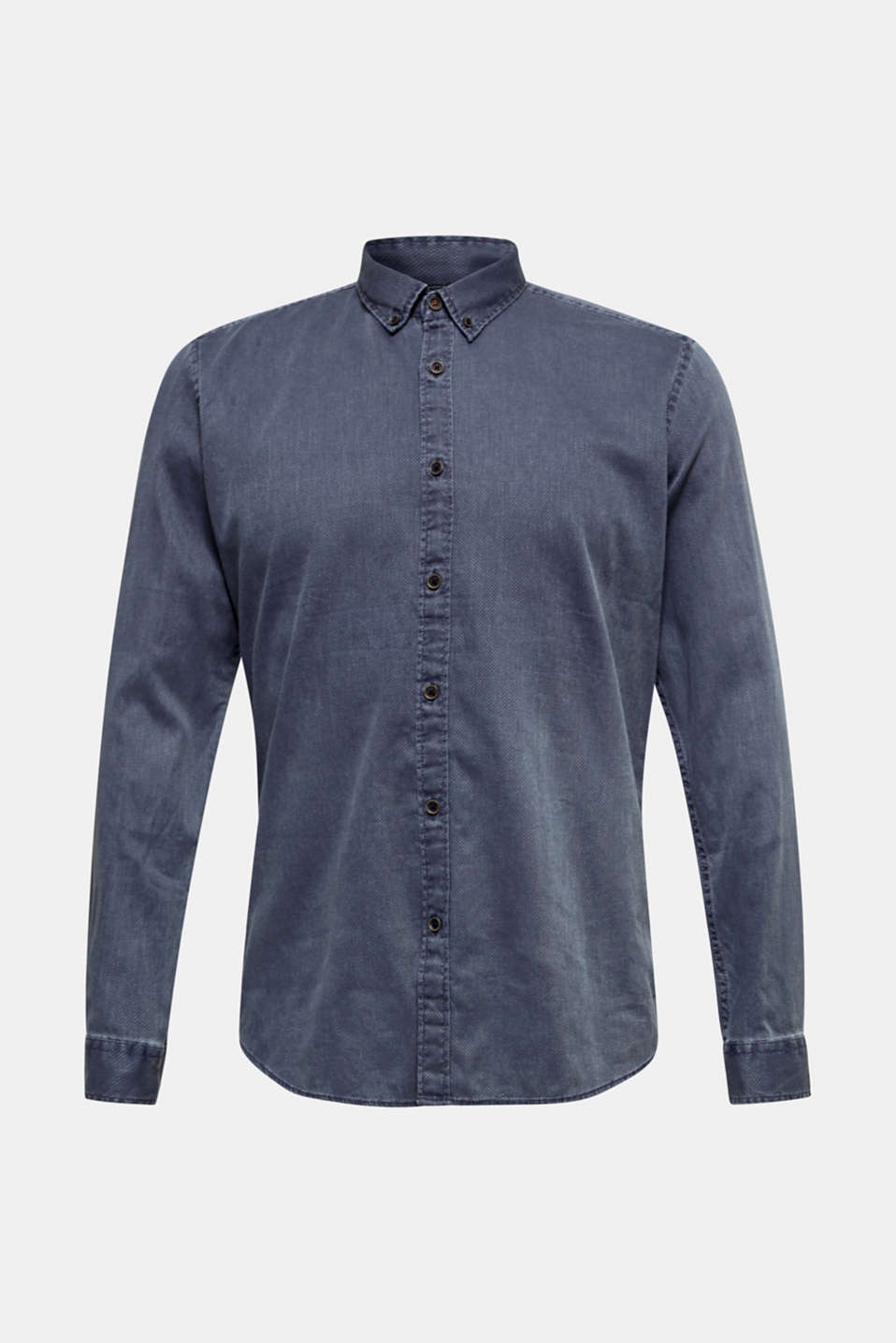 Shirt with a checked texture, 100% cotton, DARK BLUE 5, detail image number 7