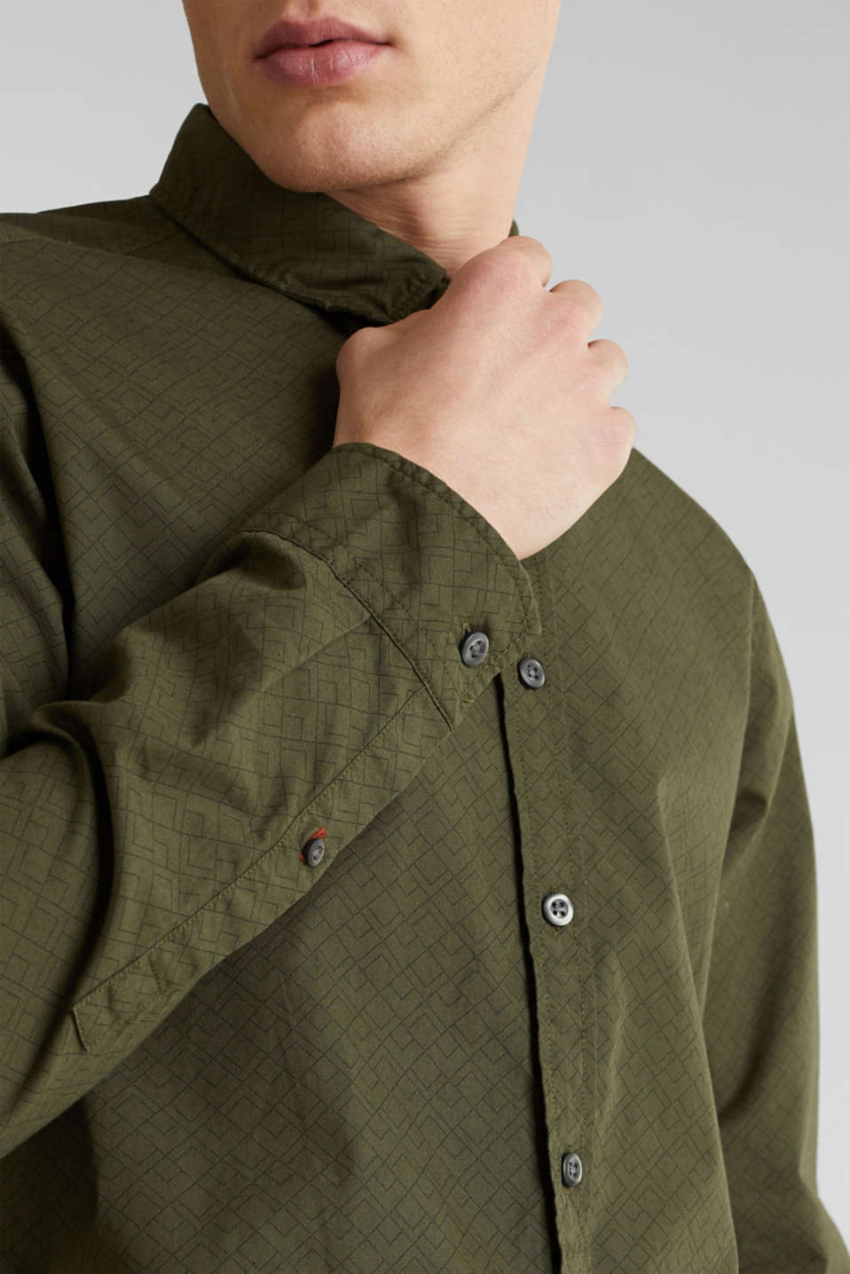 Shirts woven Slim fit, DARK KHAKI, detail image number 2