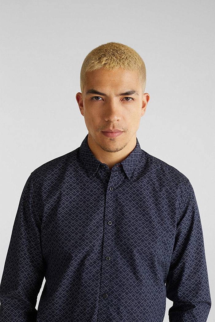 Hemd mit Allover-Print, 100% Baumwolle , NAVY, detail image number 0