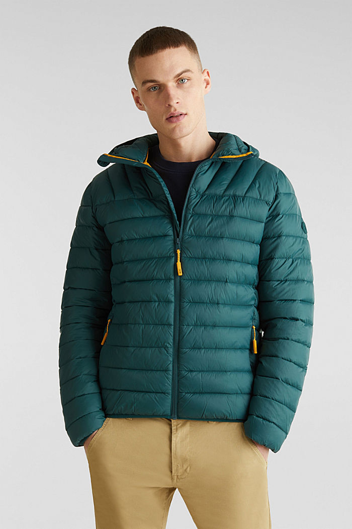 Hooded quilted jacket, DARK GREEN, detail image number 0