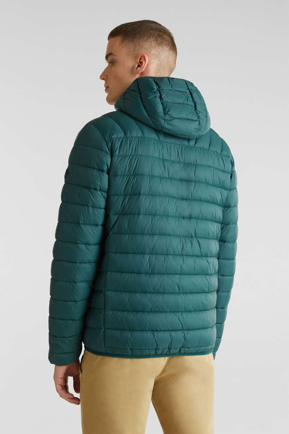 Hooded quilted jacket, DARK GREEN, detail image number 3