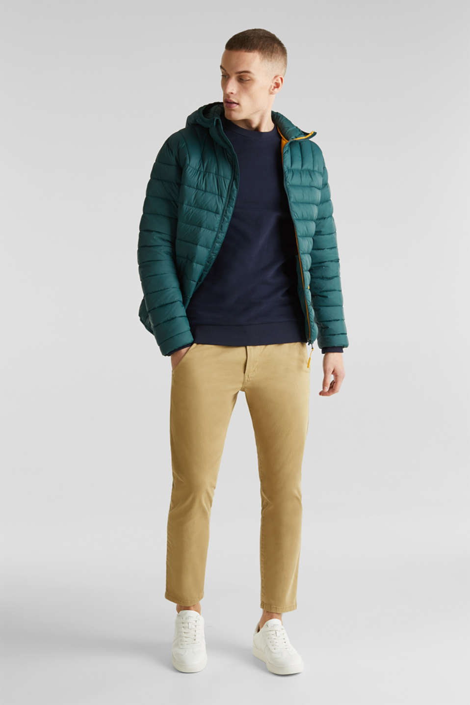 Hooded quilted jacket, DARK GREEN, detail image number 1