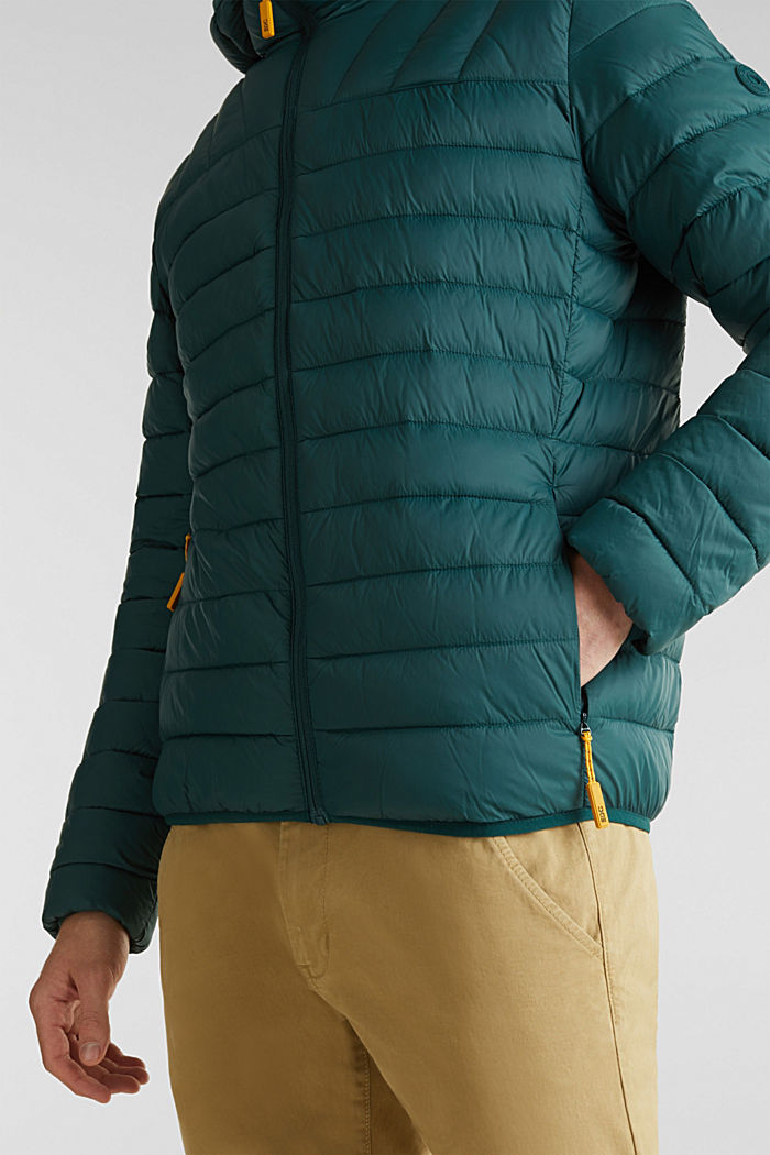 Hooded quilted jacket, DARK GREEN, detail image number 2