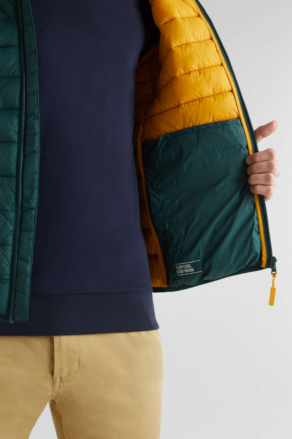 Hooded quilted jacket, DARK GREEN, detail image number 6