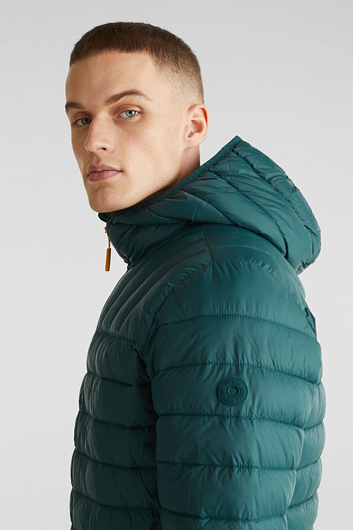 Hooded quilted jacket, DARK GREEN, detail image number 5