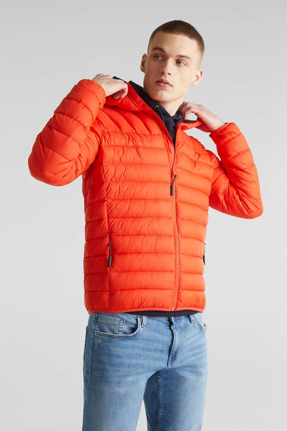 Hooded quilted jacket, ORANGE, detail image number 0
