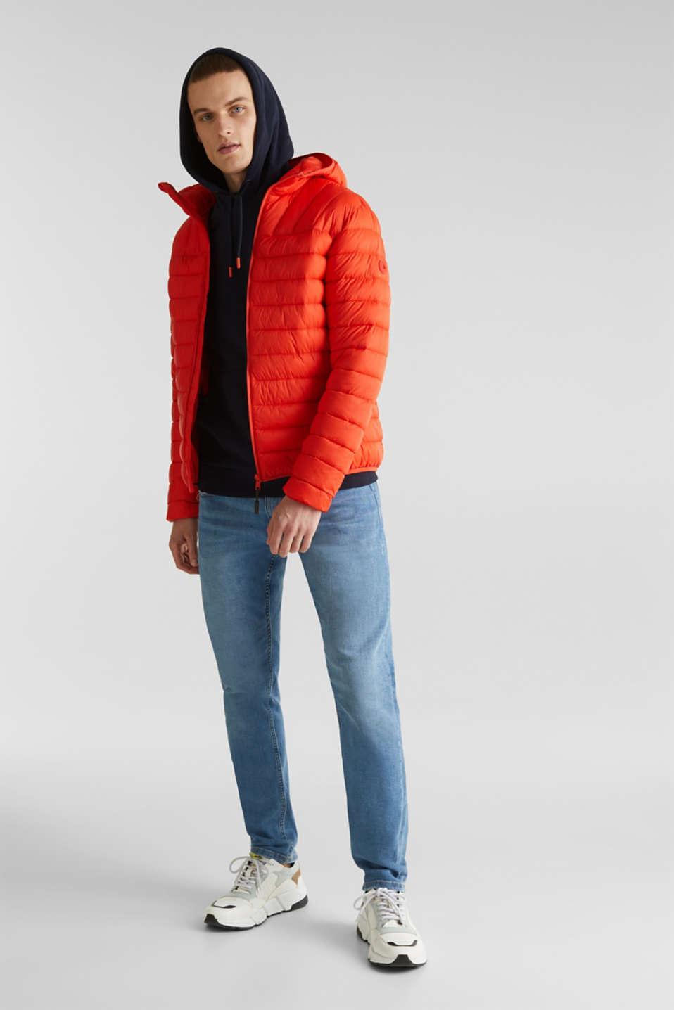 Hooded quilted jacket, ORANGE, detail image number 1