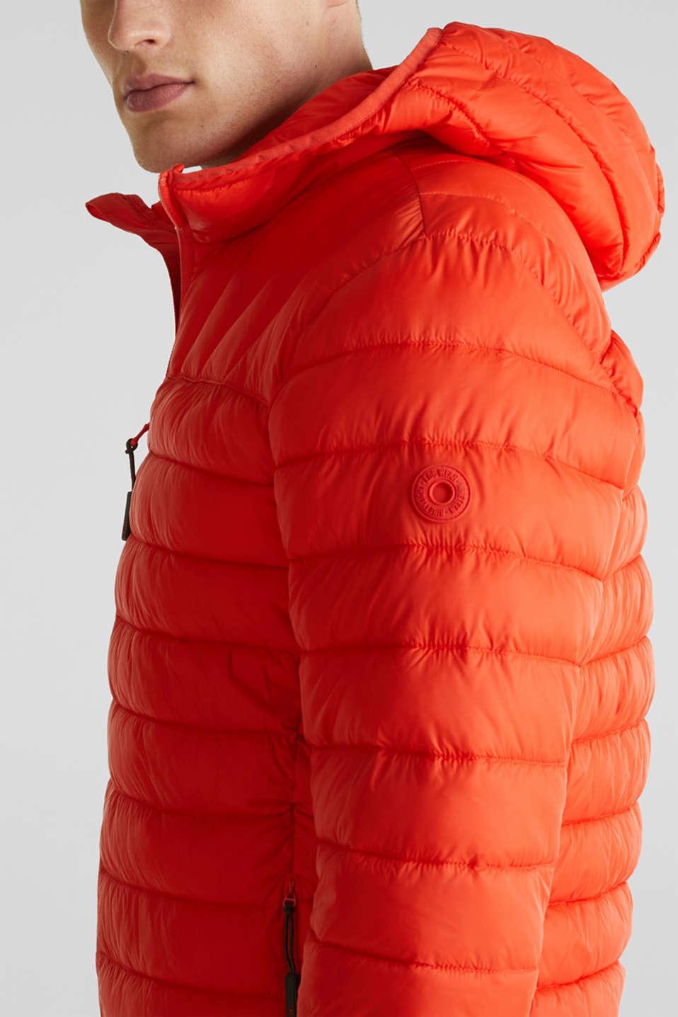 Hooded quilted jacket, ORANGE, detail image number 2