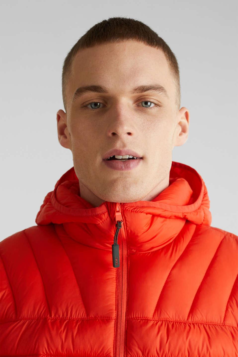 Hooded quilted jacket, ORANGE, detail image number 5
