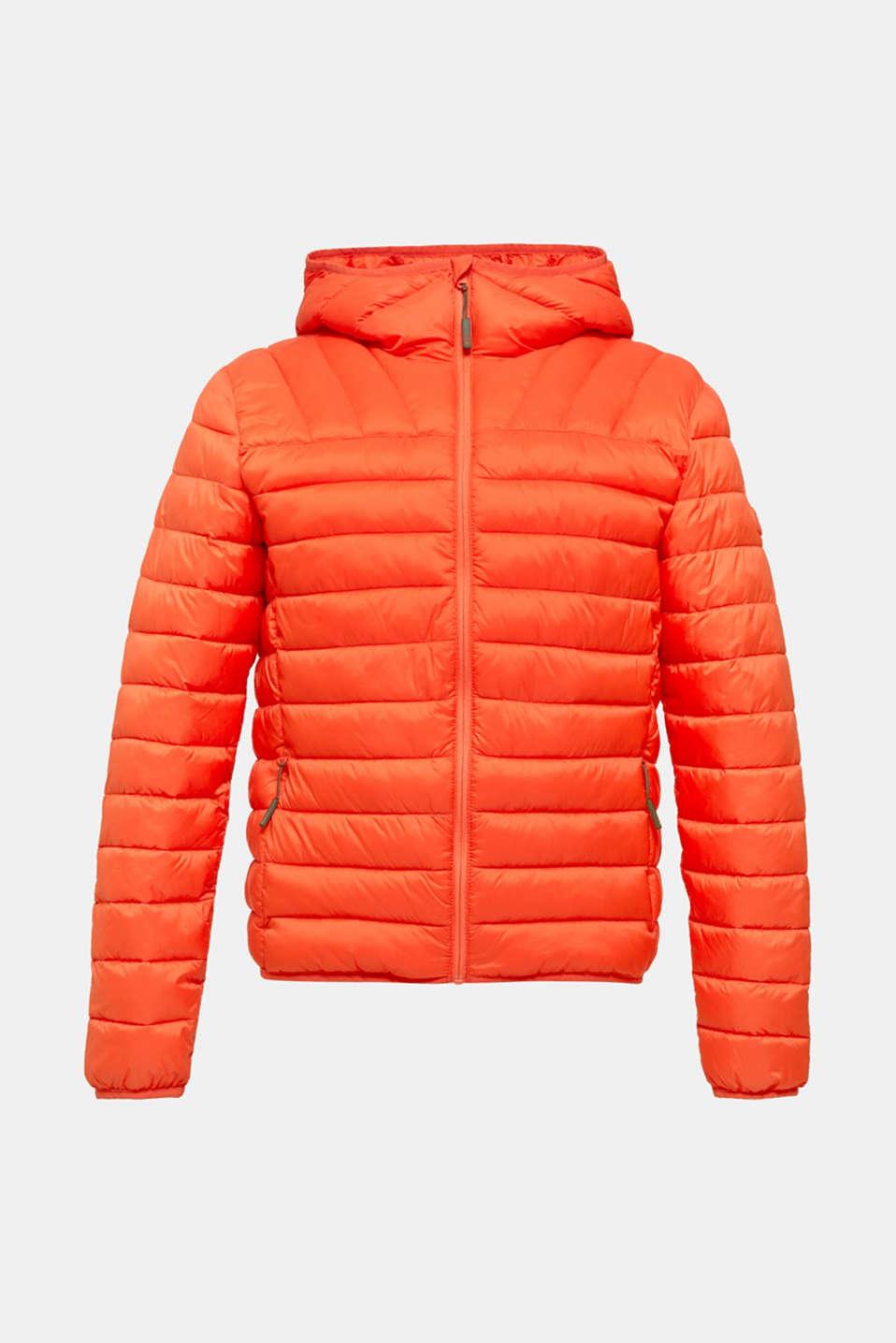 Hooded quilted jacket, ORANGE, detail image number 7