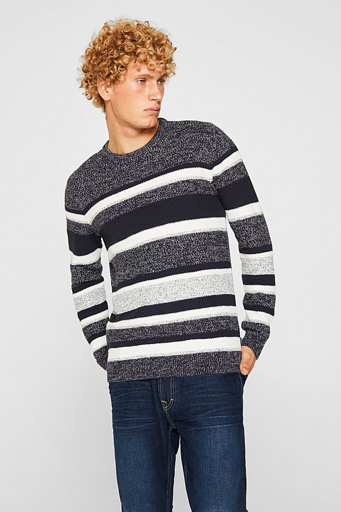 Striped jumper in 100% cotton, NAVY, detail image number 0