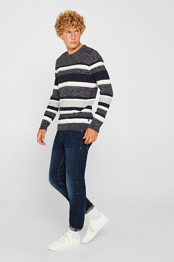 Striped jumper in 100% cotton, NAVY, detail image number 4