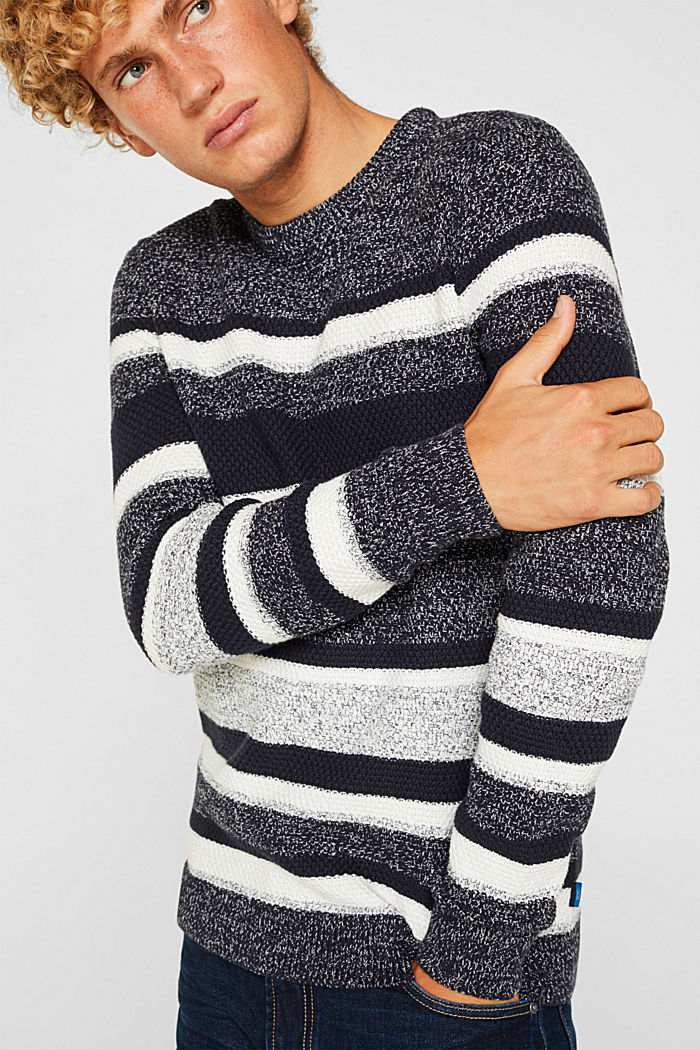 Striped jumper in 100% cotton, NAVY, detail image number 2