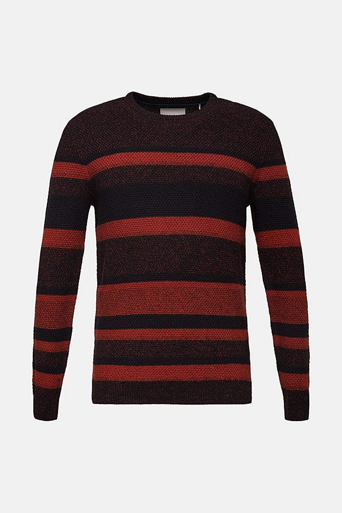 Striped jumper in 100% cotton, RUST ORANGE 3, detail image number 0
