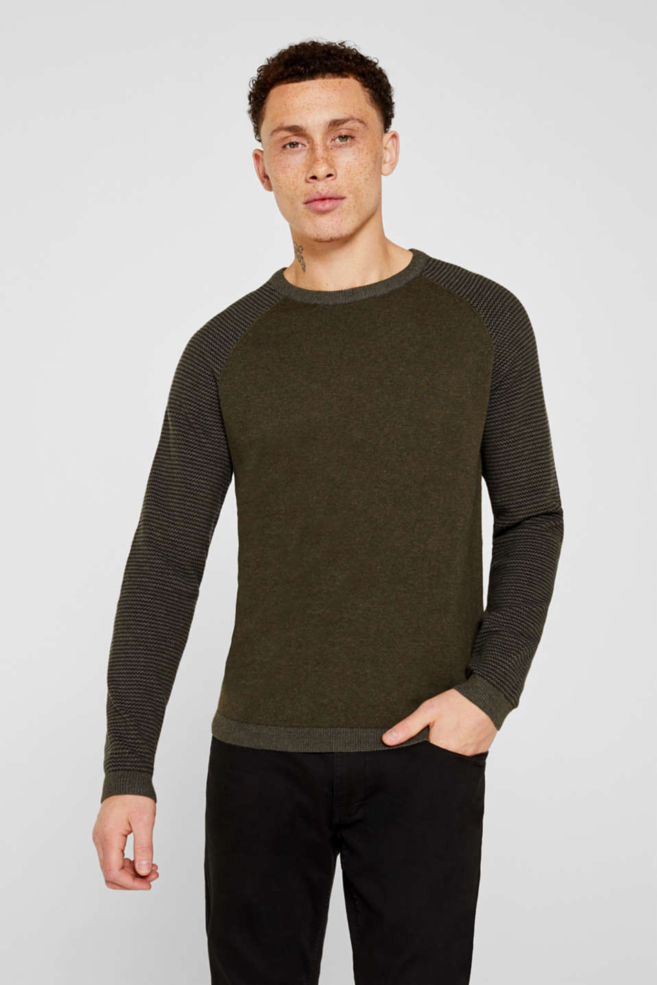 100% cotton jumper, KHAKI GREEN 5, detail image number 0