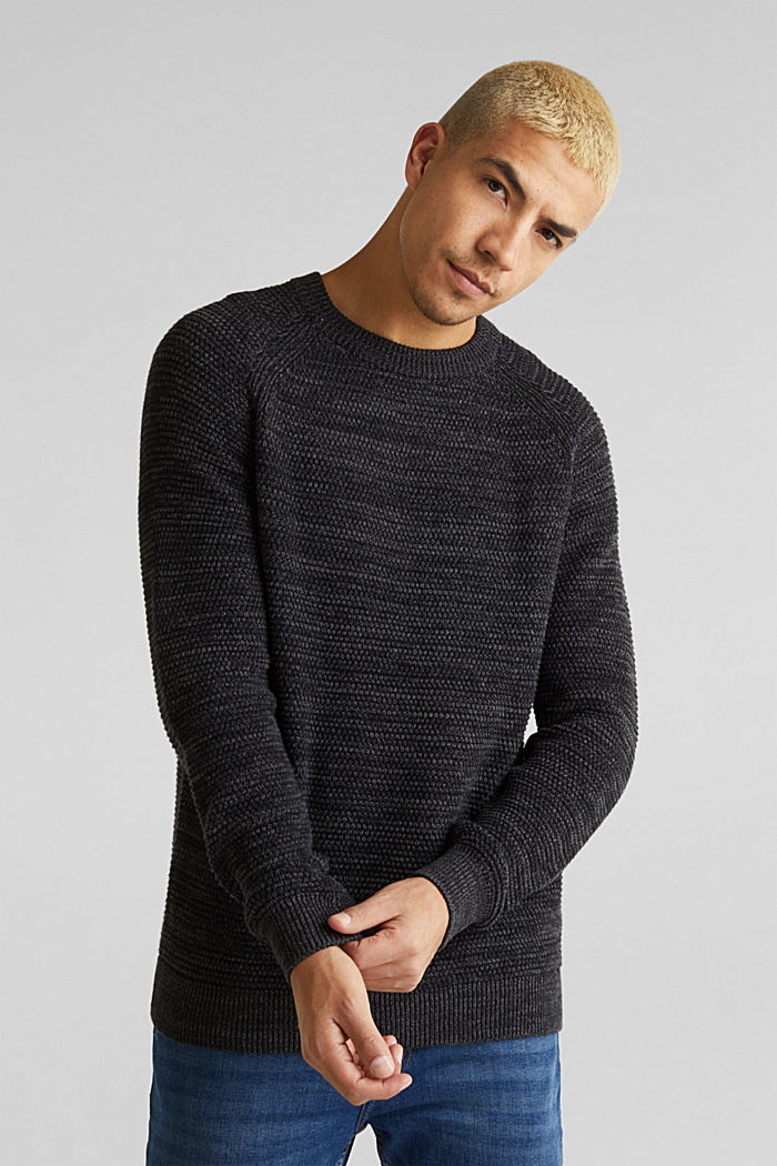 Textured jumper in 100% cotton, DARK GREY, detail image number 0