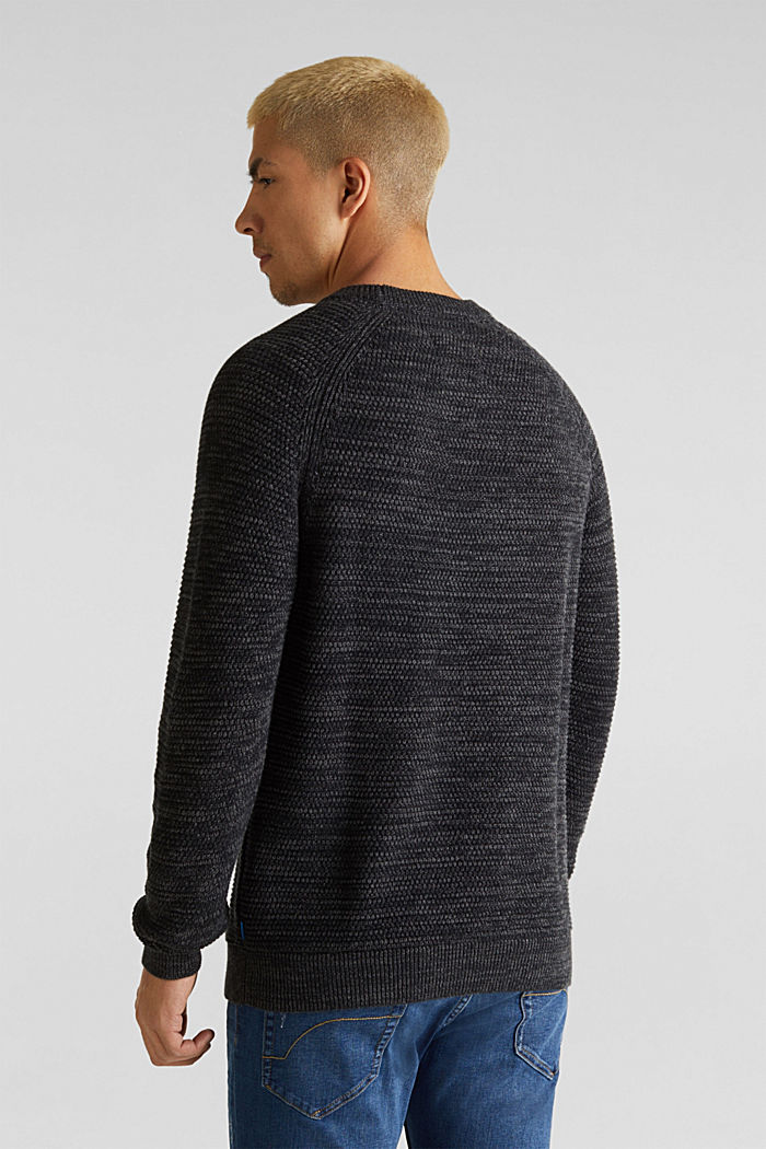 Textured jumper in 100% cotton, DARK GREY, detail image number 3