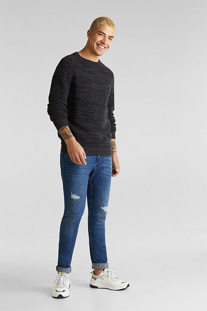 Textured jumper in 100% cotton, DARK GREY, detail image number 1
