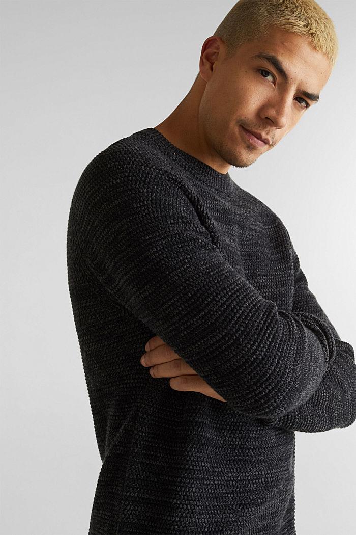 Textured jumper in 100% cotton, DARK GREY, detail image number 5