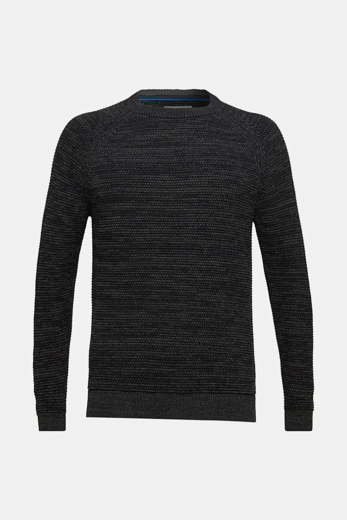 Textured jumper in 100% cotton, DARK GREY, detail image number 6