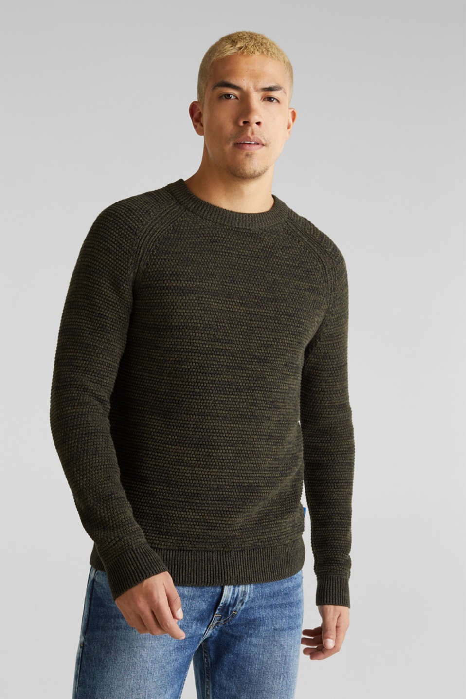 Textured jumper made of 100% cotton, KHAKI GREEN 5, detail image number 0