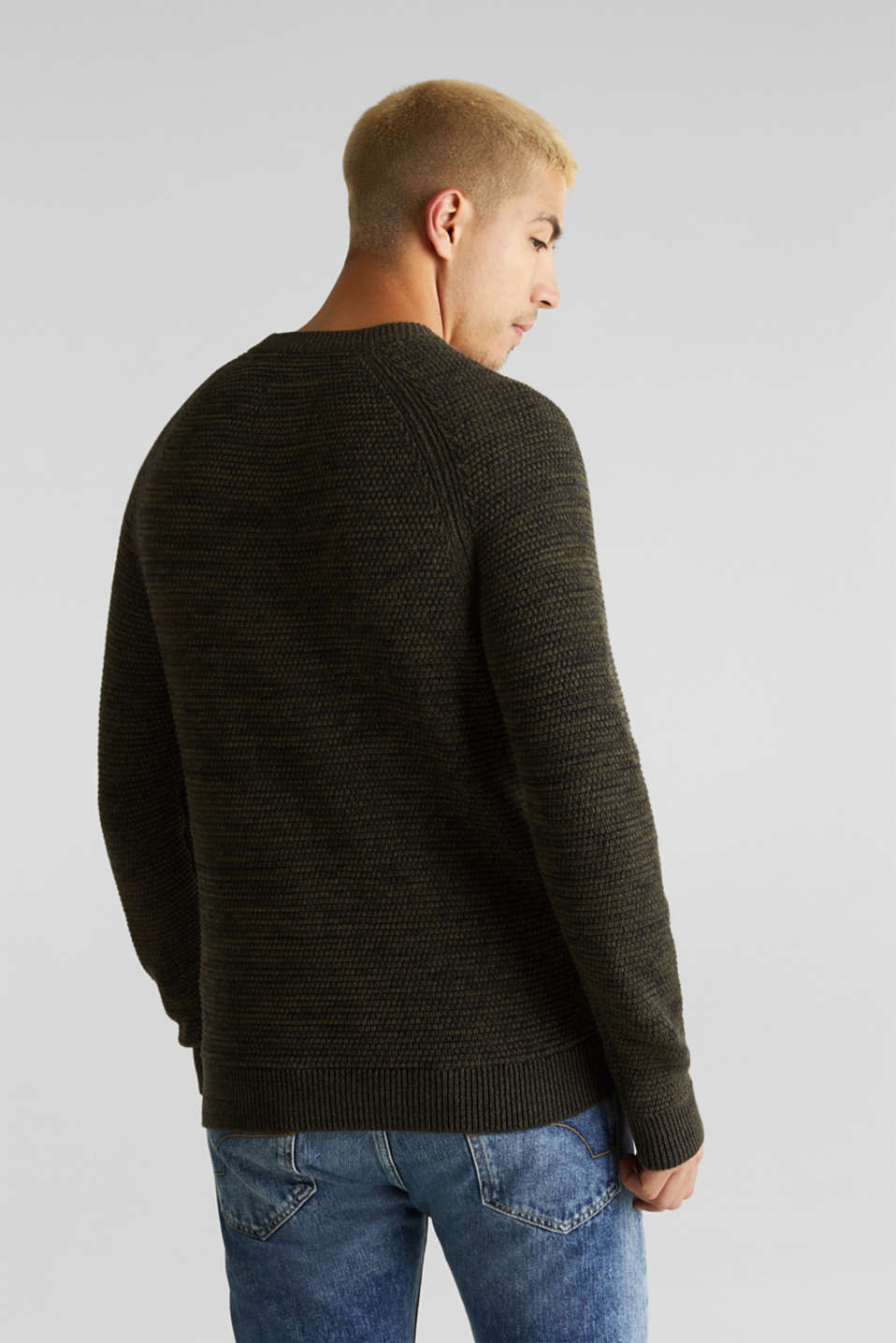 Textured jumper made of 100% cotton, KHAKI GREEN 5, detail image number 3