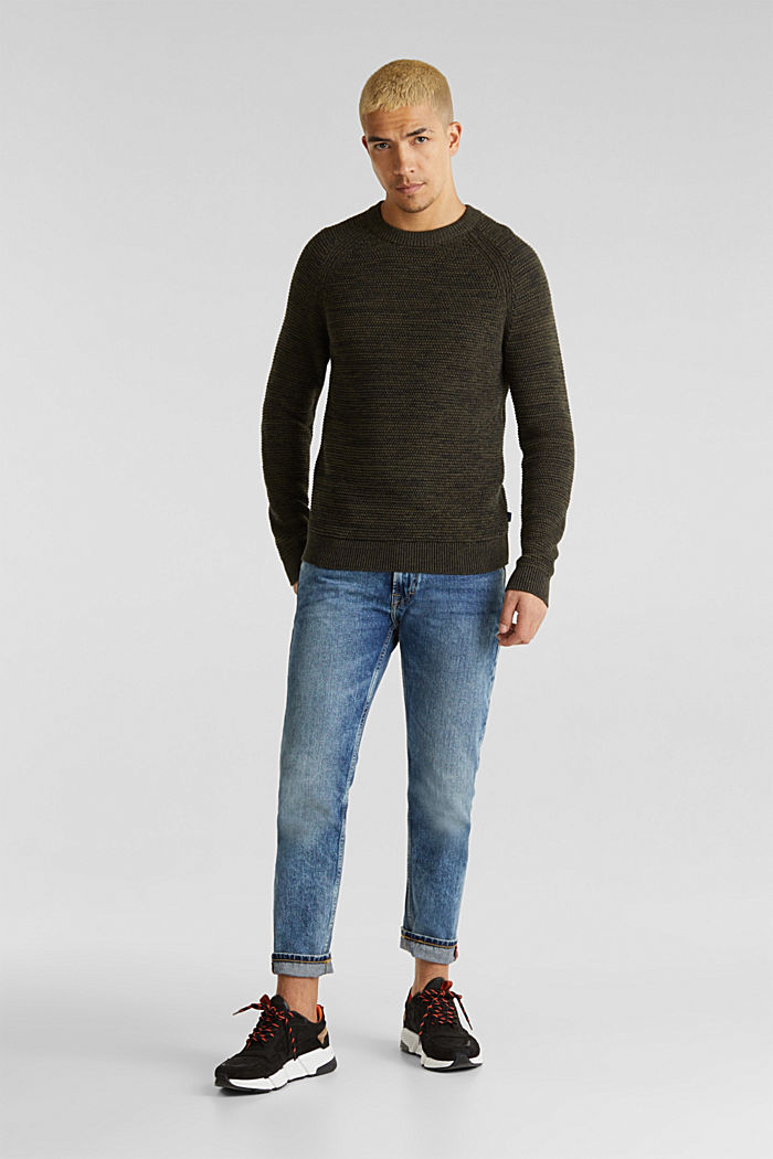 Textured jumper in 100% cotton, KHAKI GREEN, detail image number 7