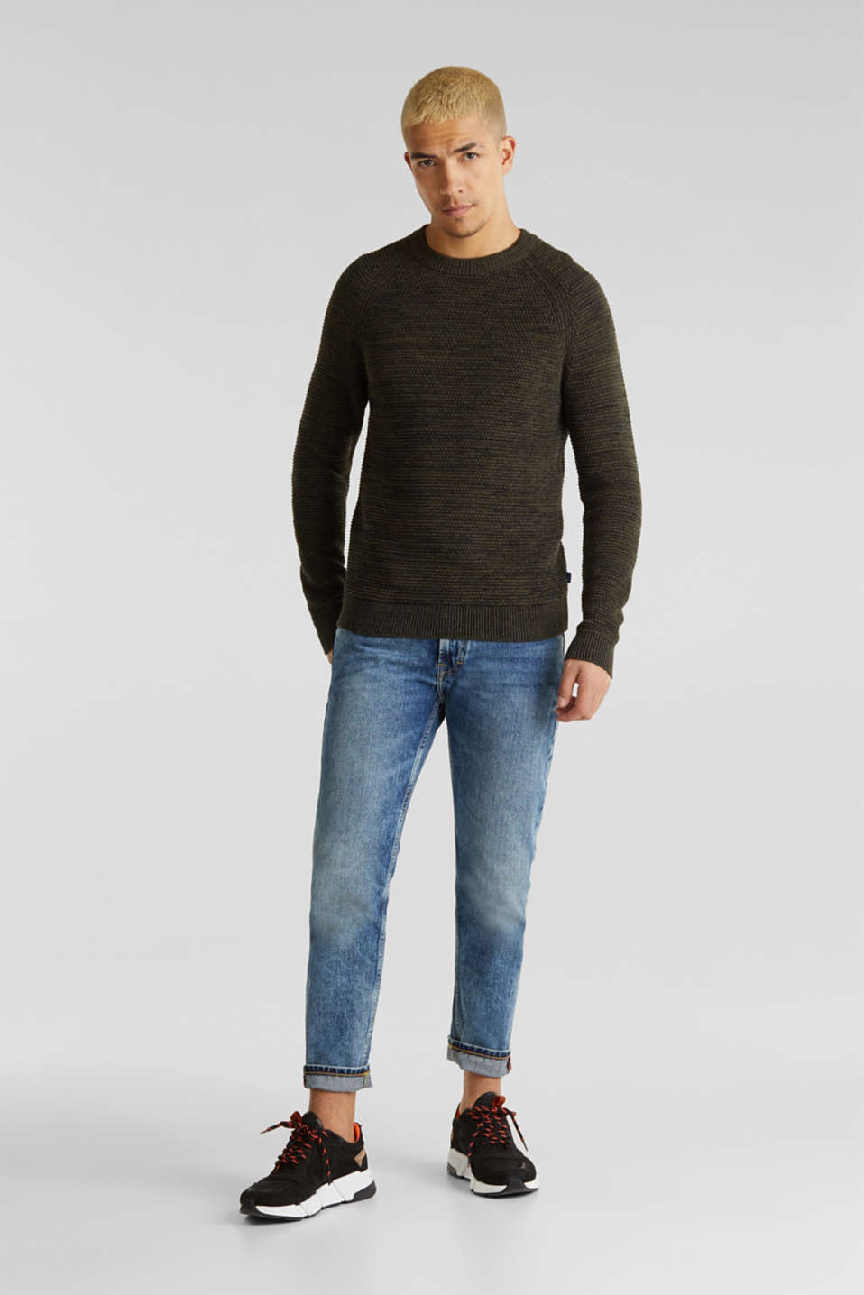 Textured jumper made of 100% cotton, KHAKI GREEN 5, detail image number 7