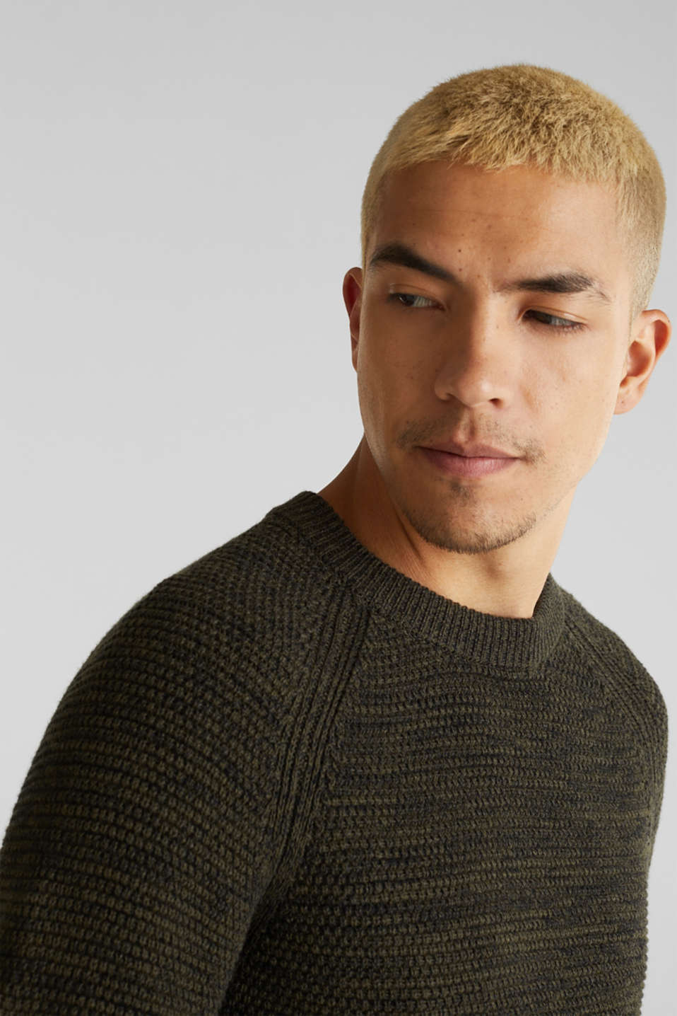 Textured jumper made of 100% cotton, KHAKI GREEN 5, detail image number 2