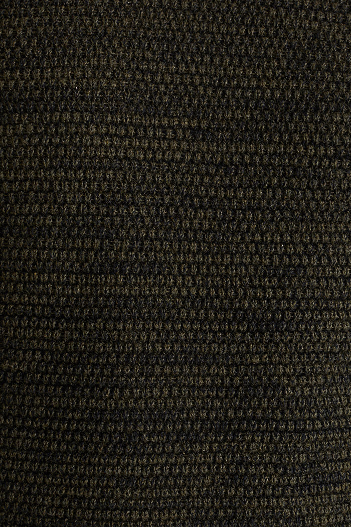 Textured jumper in 100% cotton, KHAKI GREEN, detail image number 4