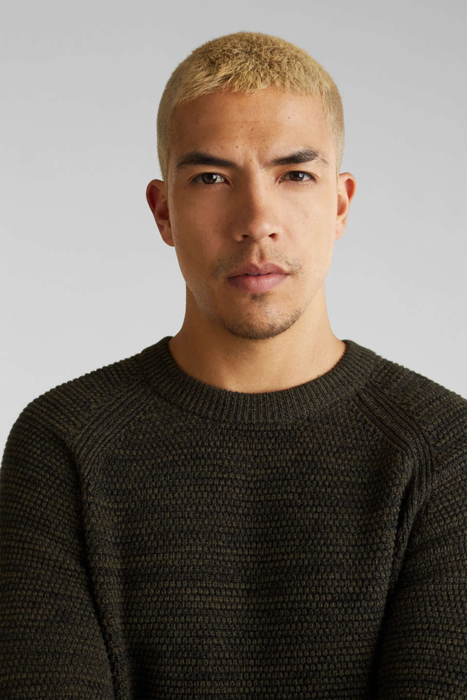 Textured jumper made of 100% cotton, KHAKI GREEN 5, detail image number 5