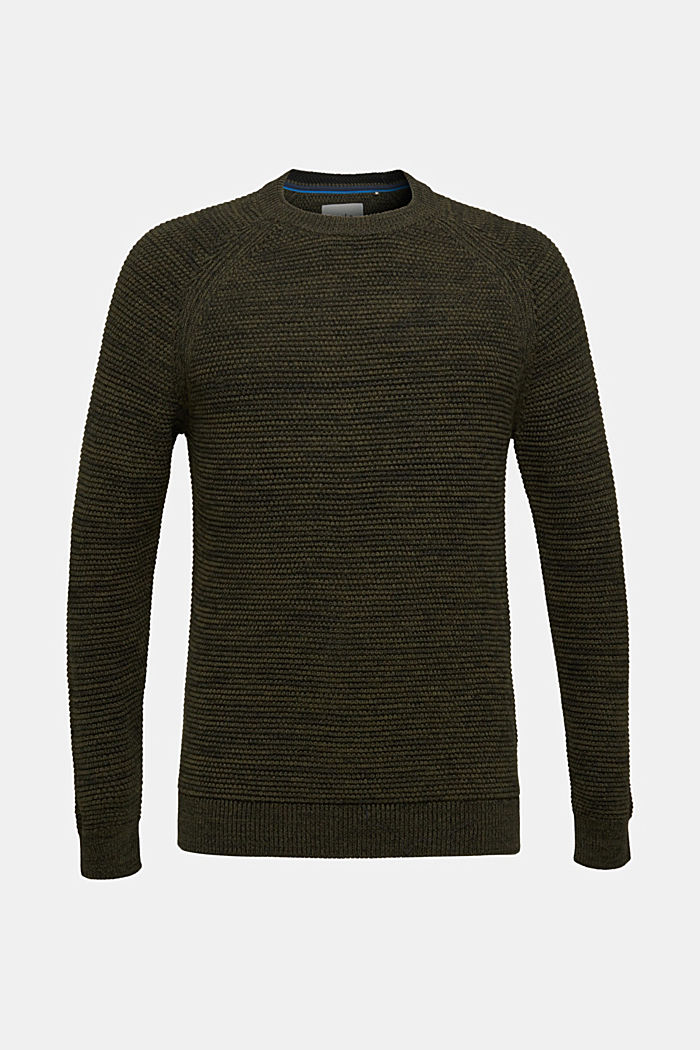 Textured jumper in 100% cotton, KHAKI GREEN, detail image number 6