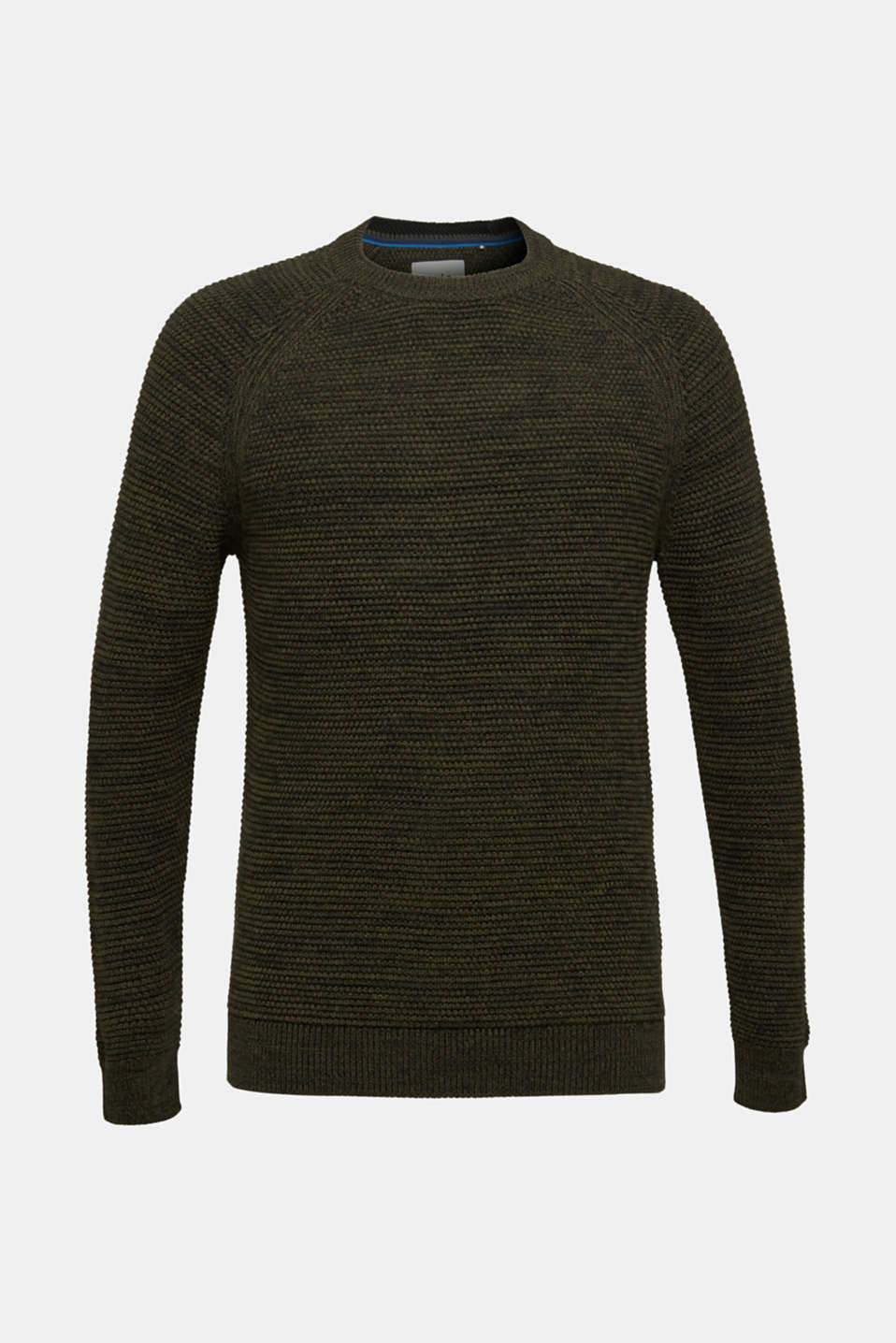 Textured jumper made of 100% cotton, KHAKI GREEN 5, detail image number 6