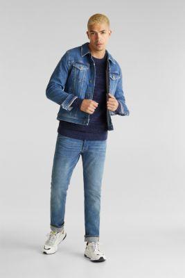 Textured jumper made of 100% cotton, NAVY 5, detail