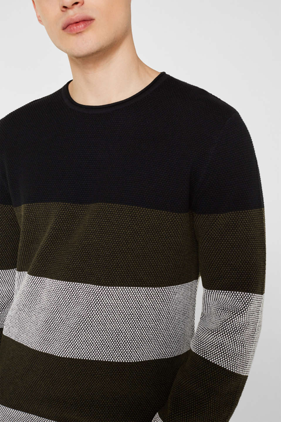 Textured jumper made of 100% cotton, KHAKI GREEN 3, detail image number 2
