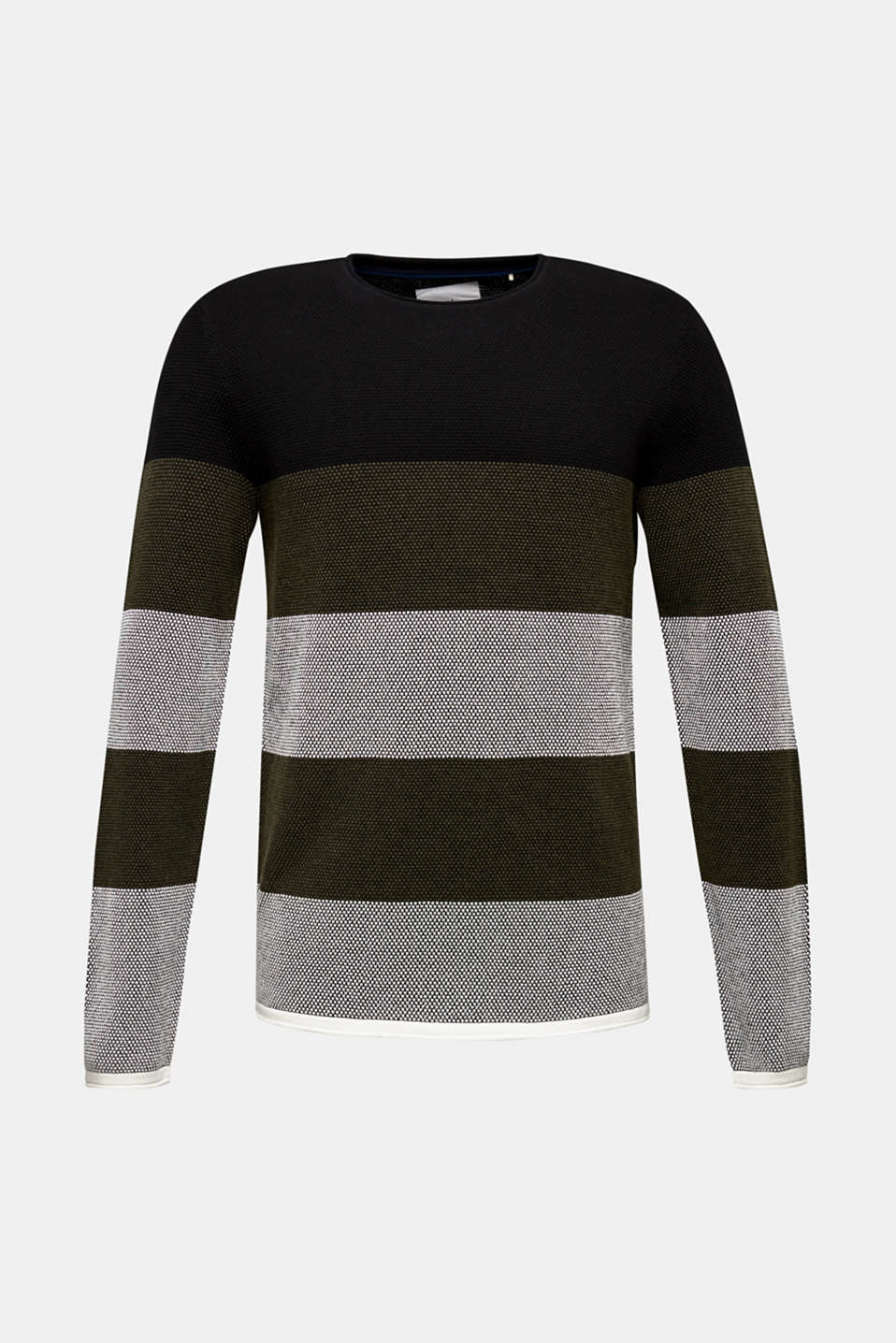 Textured jumper made of 100% cotton, KHAKI GREEN 3, detail image number 5