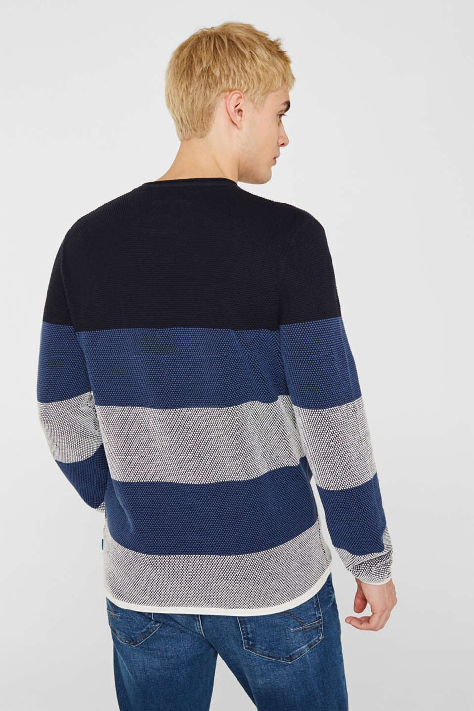 Textured jumper made of 100% cotton, BLUE 3, detail image number 3