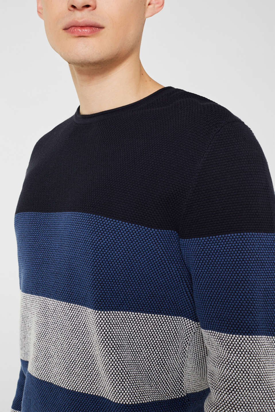 Textured jumper made of 100% cotton, BLUE 3, detail image number 2
